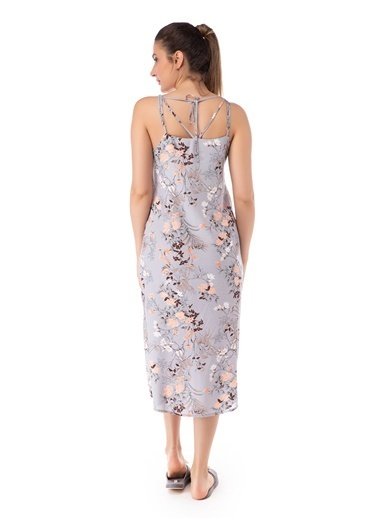 Pamuk & Pamuk Kadın Çiçekli Gri Elbise Gri